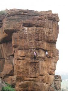 Rock climbing in Badami. Image Source ClimbingIndia.com